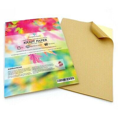 A4 Self Adhesive KRAFT PAPER Sticky Sticker Label Scrapbooking Printing Sheets