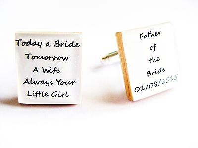 Personalised Wedding Cufflinks Father of the Bride Dad Gift Boxed Handmade in UK