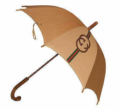 Authentic Vintage 1960's Gucci  Gold Plated & Enamel Cotton Umbrella Parasol