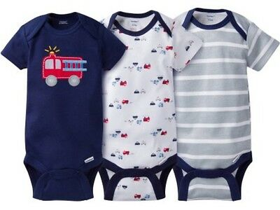 GERBER BABY BOY Onesies Bodysuits Variety 3-Pack Baby Shower Gift FIRETRUCK  NWT