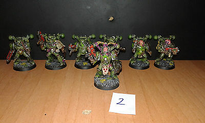 7 Chaos space marines  nurgle metal  painted plague marines