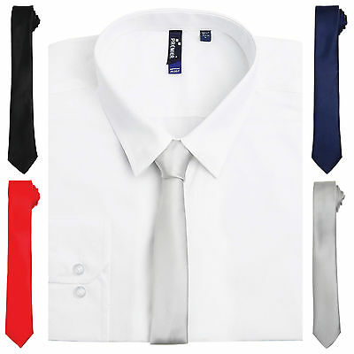 Mens Plain Satin Skinny Tie Wedding Prom Slim Thin Slim Neck Tie Solid Colour