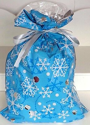 Xmas Gift Bag With Snowflake  Pattern In Blue - Extra Large