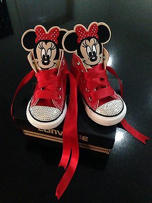 Customised genuine kids infant Converse Minnie Mouse BNIB bling Red Crystal