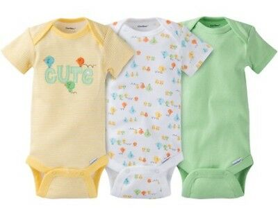 GERBER BABY Onesies Bodysuits Unisex Variety 3-Pack Baby Shower Gift Yellow NWT