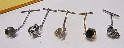 5 Vintage Mens TIE TACKS CLIP LAPEL CHAINS SWANK SILVER Dog JEWELRY Gold Silver