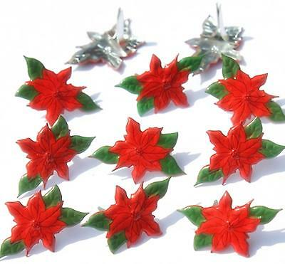 POINTSETTIA BRADS Christmas Flower Holiday Scrapbooking Stamping Card Making