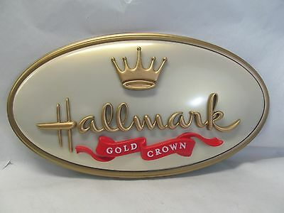 """HALLMARK GOLD CROWN SIGN STORE ADVERTISING OVAL 33"""" x 18"""" CARDS GIFT SANTA"""