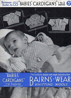 Vintage Knitting Pattern for 4 x Baby's Cardigans 1-3 months Bairnswear 135