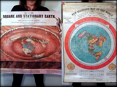 2 Flat Earth Posters: Gleasons World Map + O. Ferguson Square & Stationary Earth