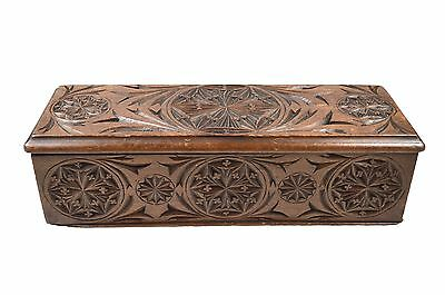 Antique Frisian Chip Carved Ladies Glove Box, Dutch.