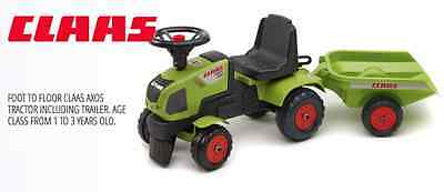 Falk Ride On Toys Claas Axos 310 Push Along Tractor With Trailer (1+ Years)