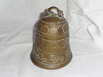Antique Chinese Japanese Brass Bronze Bell Blossoms Dragons Seal Signed
