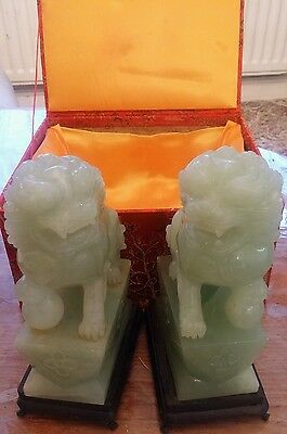 chinese jade pair of lion and lioness ornaments