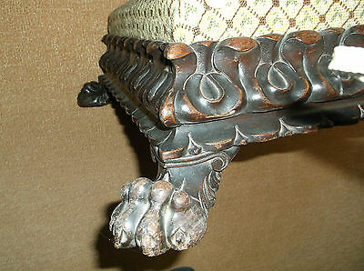 Fine Antique 19Th C Large Anglo Indian Hand Carved Foot Stool, Lions Paw Feet
