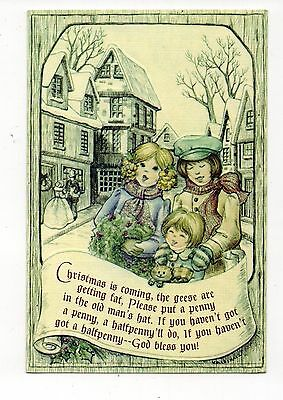 Vintage Hallmark Christmas Greeting Card Victorian Children Village 1980's