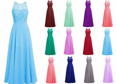 Long Chiffon Bridesmaid Prom Dresses Party Evening Formal Gown Custom Size 6-24+