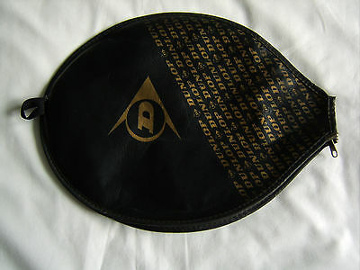 Vintage DUNLOP Tennis / Squash Racket Cover Black and Gold