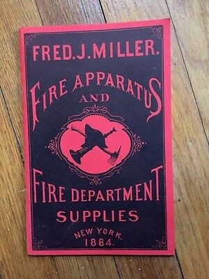 Fred J. Miller Fire Department Supply Catalog Apparatus 1884  Mint