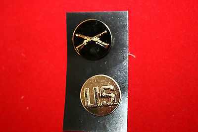 Genuine Us Army Current Issue Infantry Collar Badges Crossed Rifles On Disc Pair