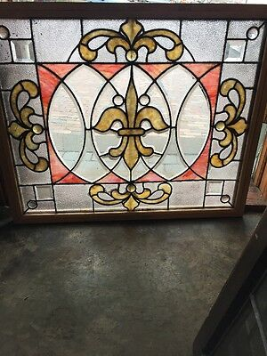 Sg 1094 Antique Beveled Jeweled Stained Glass Combo Window