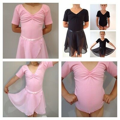 Ballet Leotard or Chiffon Dance Skirt Wrap.Black/Pink.Short Sleeve RAD Uniform