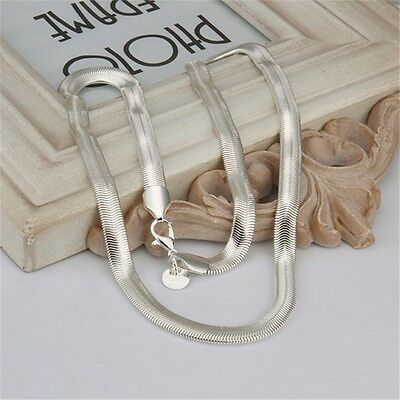 6mm 925 Solid Sterling Silver Flat Snake Chain Necklace 16 18 20 22 24 UK