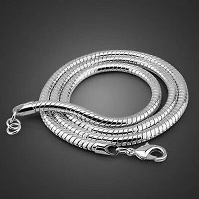 "3mm Silver Sterling 925 Snake Chain Necklace Length 16"" 18"" 20"" 22"" 24"" UK"