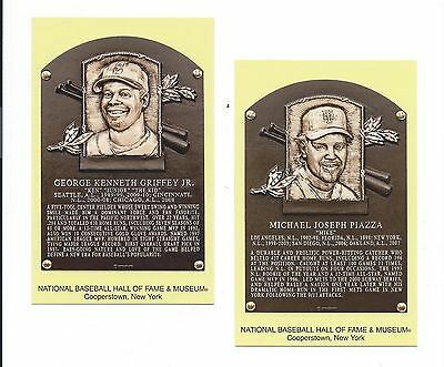 MIKE PIAZZA & KEN GRIFFEY JR - Baseball Hall of Fame- INDUCTION Plaque Postcards