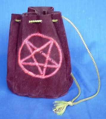Brown suede drawstring witch pagan bag florescent UV embroidered pentacle