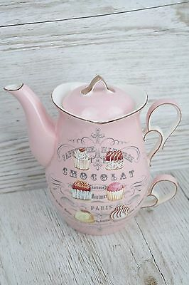 Ceramic Tea for One Chocolate Pink Design Perfect Tea lovers Gift (TF042)