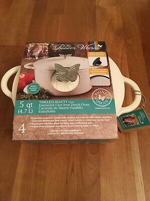 The Pioneer Woman 5 Qt Cast Iron Dutch Oven Butterfly Knob Lid Red Enamel NEW