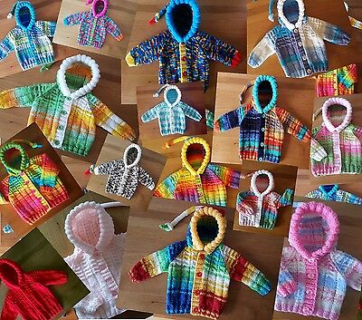 NWT 0-3m & 3-6m UNIQUE hand knitted BABY HOODIE  Cosy Cardigan Boys Girls Unisex