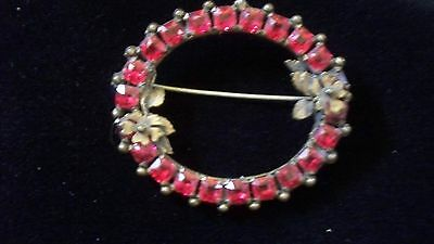Antique Ruby Red Broach Stunning!