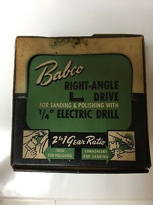 """BABCO Right Angle Drill Attachment 1/4""""  DRILLS VINTAGE MADE IN USA"""