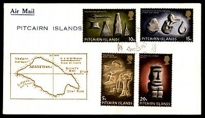 Pitcairn Islands Polynesian rock carvings statues airmail cover