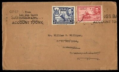 Fiji to Anchorage Alaska 1941 Commercial cover With Arrival Cancel