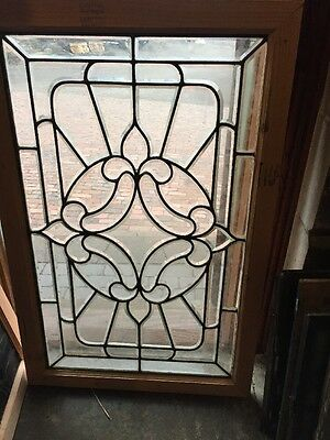 Sg 1102 All Beveled Glass Landing Window 32.5 X 48 And Three-Quarter