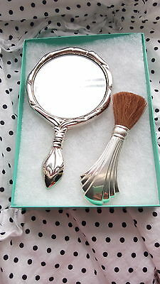 Rare Vintage Sterling Silver Towle Makeup Brush with Silver Tone Vanity Mirror