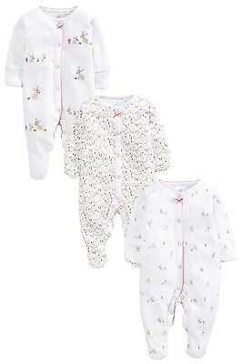 ВNWT NEXT Playsuits • Bunny Embroidered Sleepsuits 3pk • 100% Cotton • Newborn