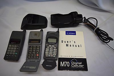 Vintage Motorola cell phone lot of 3 Tele Tac 200 M70 MicroTac with accessories