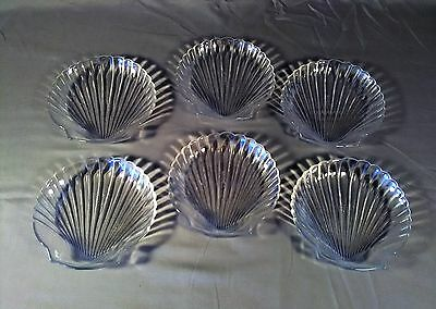 6 ARCUISINE Glass Shell Candy Appetizer Dishes Made in France.
