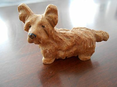 Beautiful wooden carved Skye Terrier, very old
