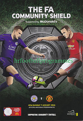 LEICESTER CITY v MANCHESTER UTD COMMUNITY SHIELD FINAL 2016 OFFICIAL PROGRAMME
