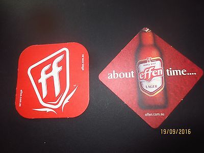 2 Different EFFEN LAGER BREWERY  Beer Coasters collectable Victoria