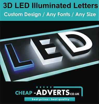 3D LED Shop Sign Letters 70cm - ALL Fonts Custom Designs/Shapes - Free Artwork