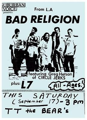 Bad Religion POSTER - Very Early 1984 Show Flyer PRINT - O.C. Punk Rock