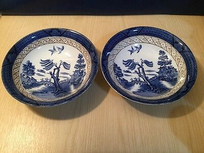Pair Early Booths Real Old Willow Pattern Dessert Bowls Blue & White China