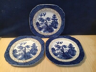 Three Booths Real Old Willow Pattern Squared Tea Plates Blue & White China