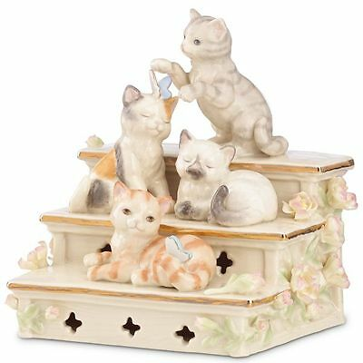 Lenox Sunset Step Kittens Cat Figurine Four kittens and two butterflies New